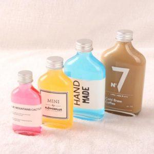 Flat juice coffee glass bottle with screw lid 100ml 200ml 250ml