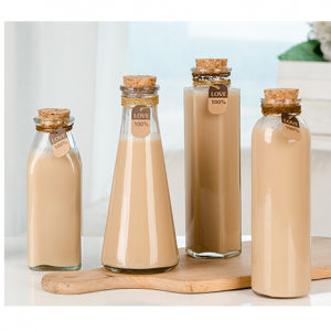 350ml round square triangle and hexgonal shape juice glass bottle with cork
