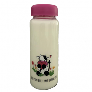 450ml round glass boba tea glass bottle with wide mouth and colorful plastic cap