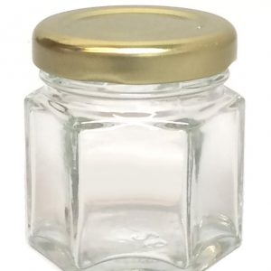 180ml hexgonal jam glass jar with tin lid