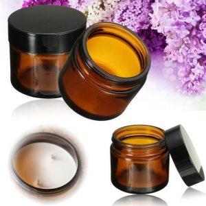 Amazon hotsale skin care 50g amber face cream black cap glass jar wholesaler