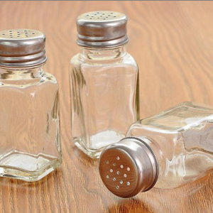 Square 4oz Salt Pepper Glass Jars Spice Shaker with Metal Lids Custom Label Sticker