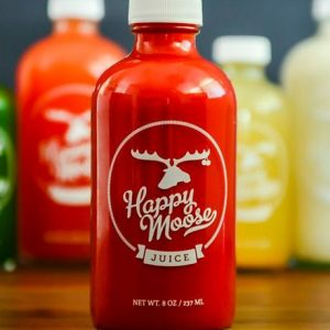 Clear 500ml boston round water juice glass bottle custom label