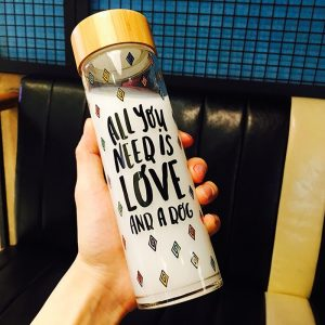Bamboo lid 600ml wide mouth boba tea juice glass bottle