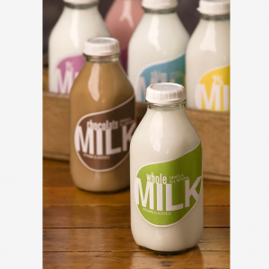 Wholesale 500ml 1000ml square milk glass bottle with plastic tamper evident cap
