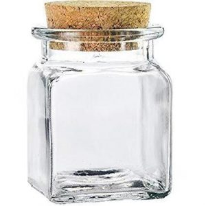 50ml square corked glass jar for candy and gift
