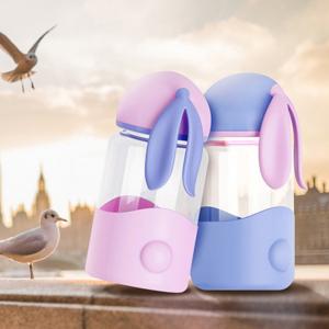 300ml animal rabbit ear water glass bottle Kids milk drinkware with anti-hot sleeve
