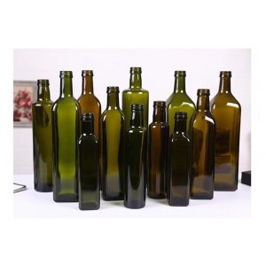 Amber and green Olive oil glass bottle with tamper evident plastic cap