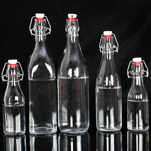 Wholesale swing top 8oz 16oz 32oz water sofe drinks glass bottle custom label