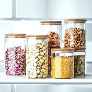 Factory 500ml 1000ml food storage glass bottle with Bamboo cap