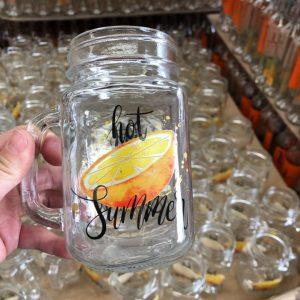 Factory 16oz mason juice boba tea glass jar with handle custom printings