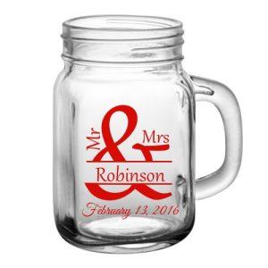 Custom logo 16oz 22oz mason glass jar with handle
