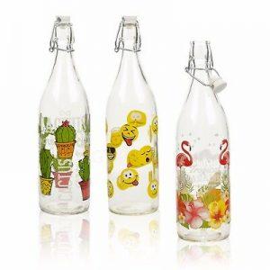 Triangle 500ml 1000ml ceramic swing top glass bottle for juice