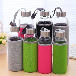 18oz water glass bottle with stainless cap and sleeve