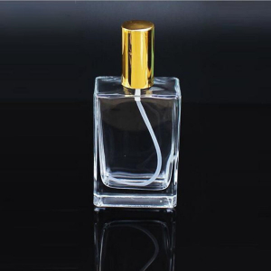 Square 50ml glass perfume bottle with pump