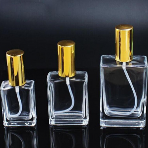 Square 30ml 50ml 100ml perfume glass bottle with pump