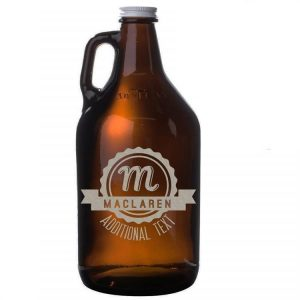 64oz amber growler with label