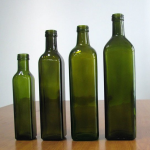 Clear or green Olive oil glass bottle