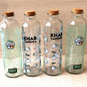 Corked glass boba tea milk bottle 500ml