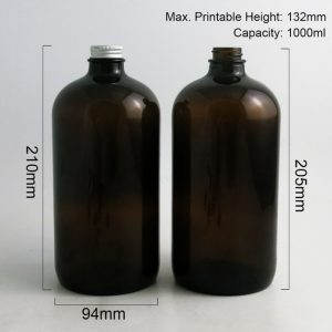Amber thick glass bottle