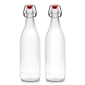 Glass water milk bottle swing top
