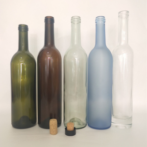Frosted 750ml wine glass bottle with cork
