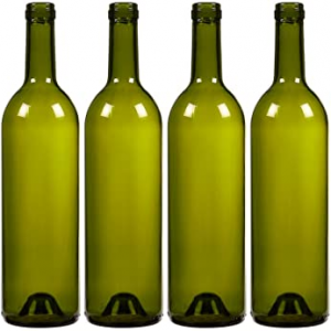 Green 750ml glass wine bottle with cork