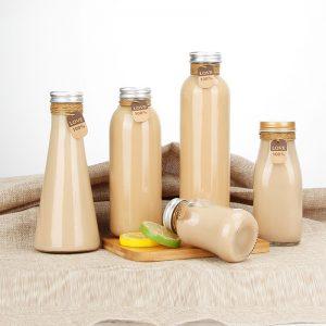 500ml boba tea milk tea glass bottle with colorful cap