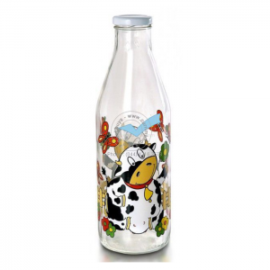 1L milk juice glass bottle custom logo
