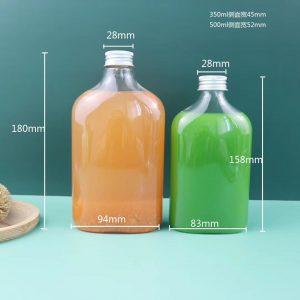Flat plastic  juice water bottle 350ml 500ml