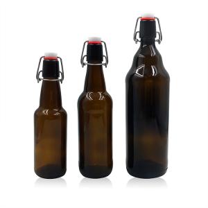 dark amber glass beer bottle