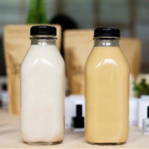 square juice milk glass bottle with anti-tamper cap