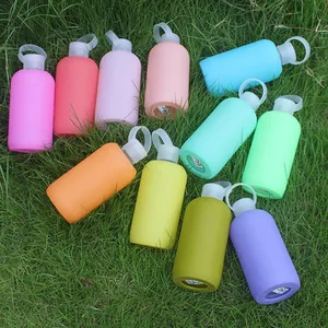 Fat glass water bottle with sleeve