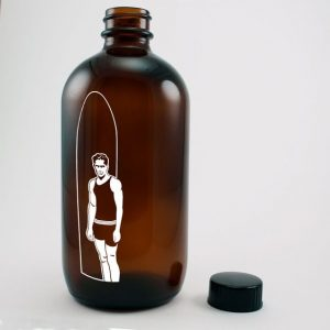 Amber round glass Kombucha tea bottle