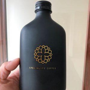 Black 250ml coffee brew glass bottle custom logo