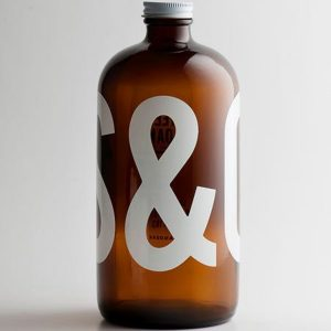 Amber Boston round glass bottle 1 L coffee bottle