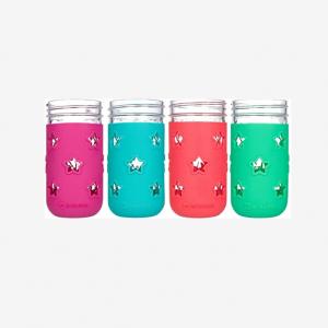 Spill proof kids cups 12oz mason glass jar with sleeve
