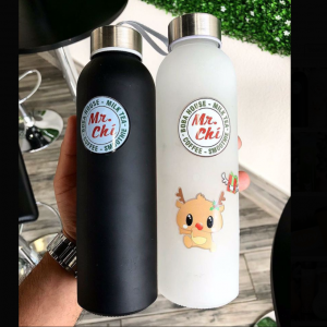 500ml and 1000ml frosted water glass bottle with stainless steel cap