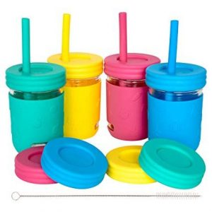 Kids cups 8oz mason glass jar with sillicon sleeve and straw