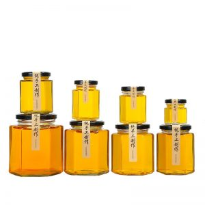 Hexagon honey glass jar with lug cap