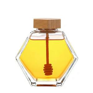 Hexagon honey glass jar with wooden cap