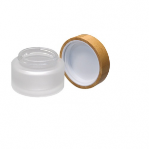 30g frosted face cream glass jar cosmetic glass container with bamboo cap