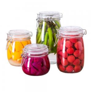 Round kitchen glass food storage jars bottles clip top