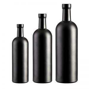Fancy black round vodka glass bottle 500ml 750ml and 1000ml liquor bottle