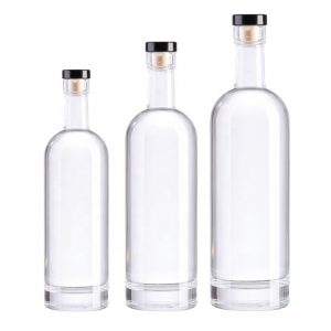 Clear round flint Vodka liquor glass bottle with cork