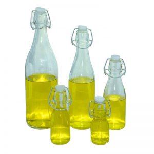 Round swing top glass bottle