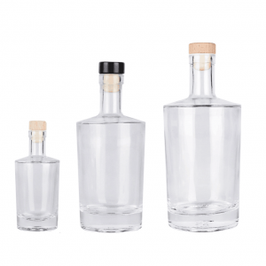 Galileo style vodka glass bottle with cork