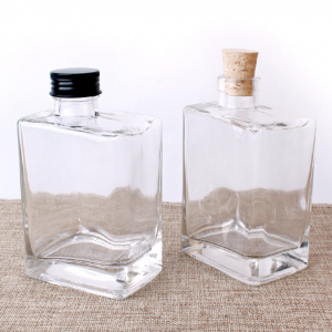 200ml and 300ml square coffee glass bottle two caps