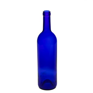 Custom blue 750ml glass wine bottle cork top vodka liquor bottle
