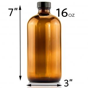Amber 16oz boston round glass juice bottle